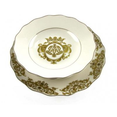 Set of 18 Pieces White Porcelain Plates with Golden Decoration - Blanche Royal Collection