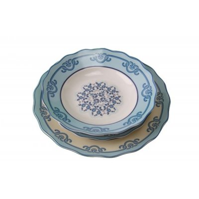 Dinnerware Set 18 Pieces Ceramic - Positano White Collection and Blue Decorations