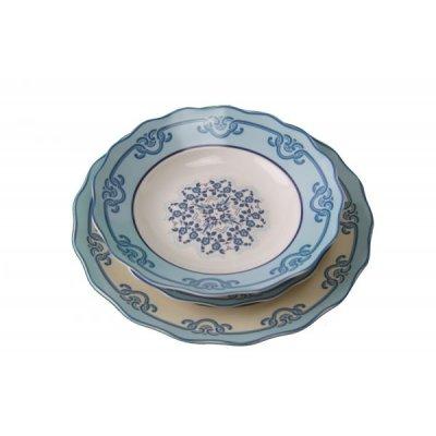 Service de vaisselle 18 pièces en céramique - Collection Positano White et décorations bleues