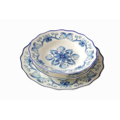 Service de vaisselle 18 pièces en porcelaine fine - Collection Pantelleria - Décorations bleues