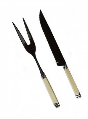 Carving Fork and Carving Knife Ivory Rossini
