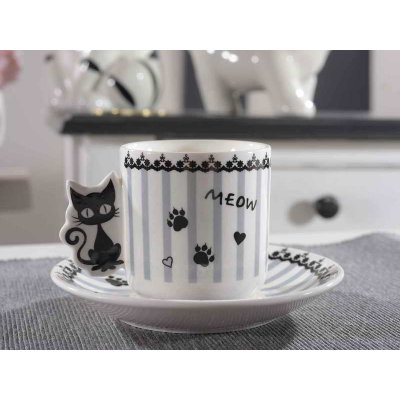 Ensemble de 6 tasses à café avec soucoupes en porcelaine - décoration chaton