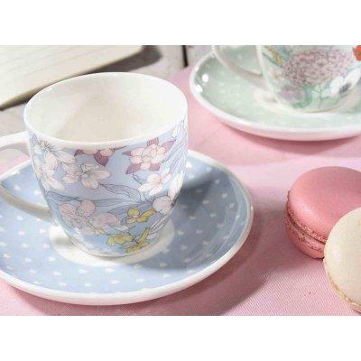 Ensemble de 6 tasses à café avec soucoupe minable / provençale - Décoration de fleurs