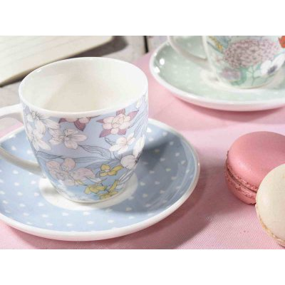 Set 6 Pieces Coffee Cups with Shabby / Provencal Saucer - Flowers Decoration