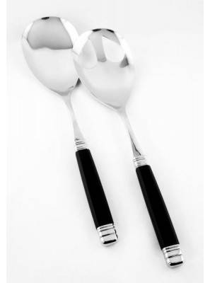 Cutlery Salad set in stainless steel with black handle - Model Rossini - Rivadossi Sandro.