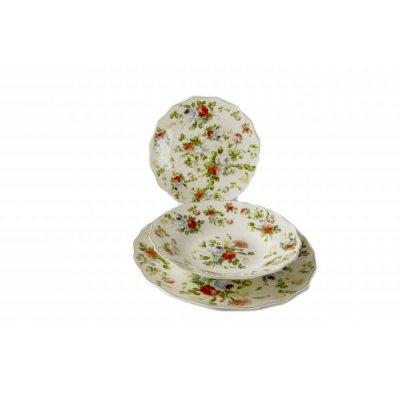 Teller-Set 18-teiliges Porzellan - New Spring Rose - Provenzalischer / Romantischer Stil