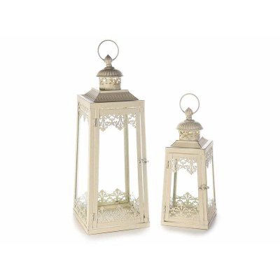 Shabby Chic Metalllaterne - 2-teiliges Set