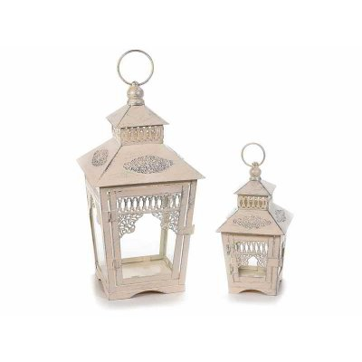Set 2 Pezzi Lanterne Porta Candele in Metallo Shabby Chic