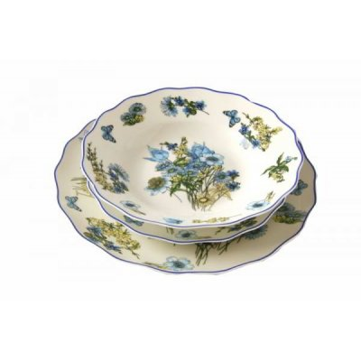 Assiettes en porcelaine fine Set 18 pièces pour 6 personnes - Fleur bleue - Famille royale Sheffield