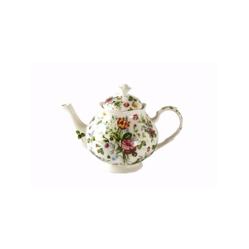 Théière en porcelaine fine de style anglais - Nouvelle collection Spring Rose - Royal Family Sheffield