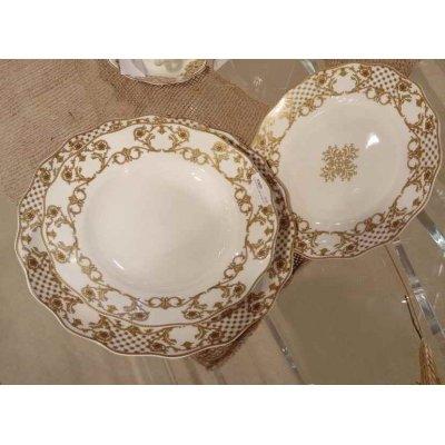Service de Vaisselle 18 pièces - Fine Bone Porcelaine - Décoration dorée - Collection Châteaux de Megève