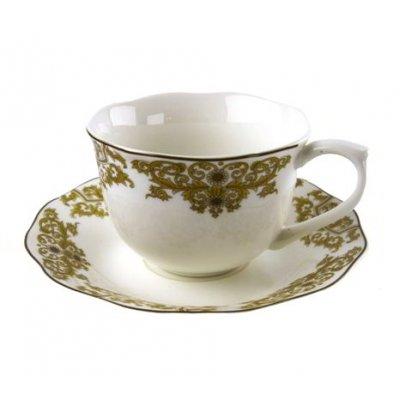 Ensemble de 6 tasses à thé en porcelaine avec décorations dorées - Blanche Royal