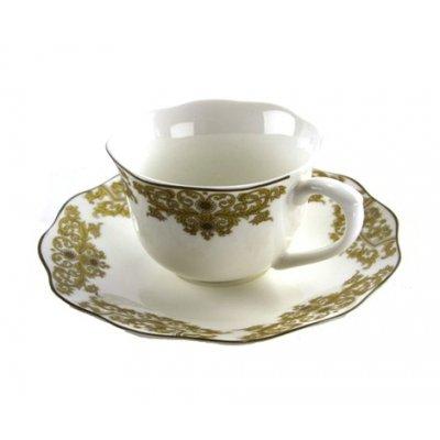 Servizio Tazze da Caffè - Set 6 Pezzi in Porcellana con Decori Dorati - Blanche Royal - 1 -