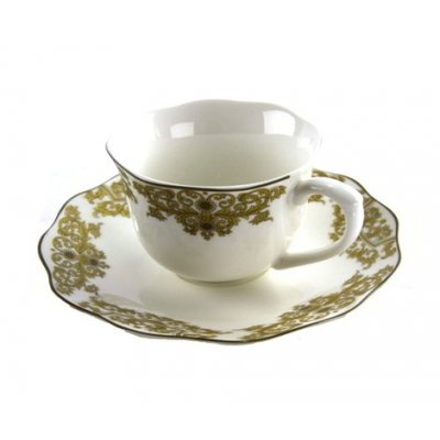 Set of 6 Porcelain Coffee Cups With Golden Decorations - Blanche Royal