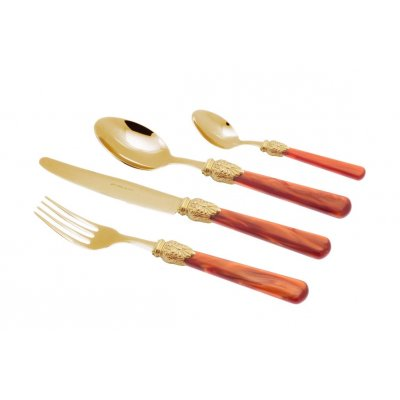 Gold Pvd Besteck - Elena - Set 24 Stück Orange Pearly Griff