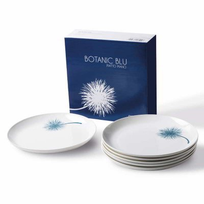 Set mit 6 flachen Porzellantellern - Botanic Blue Collection - Rivaldi