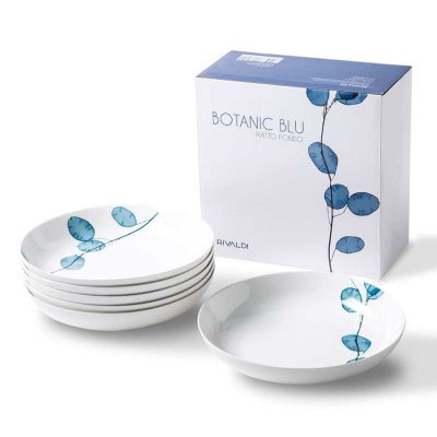 Set of 6 Porcelain Soup Plates - Botanic Blue Collection - Rivaldi