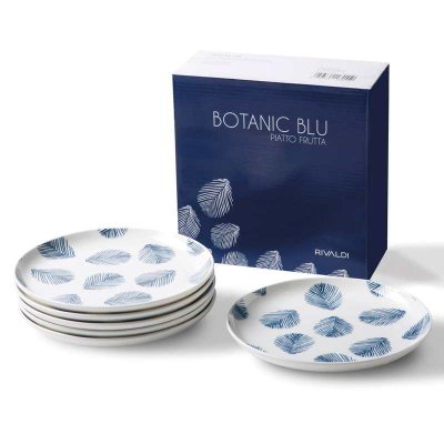 Ensemble de 6 assiettes à fruits en porcelaine - Collection Botanic Blue - Rivaldi