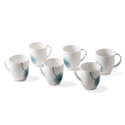 Ensemble de 6 tasses en porcelaine - Collection Botanic Blue - Rivaldi