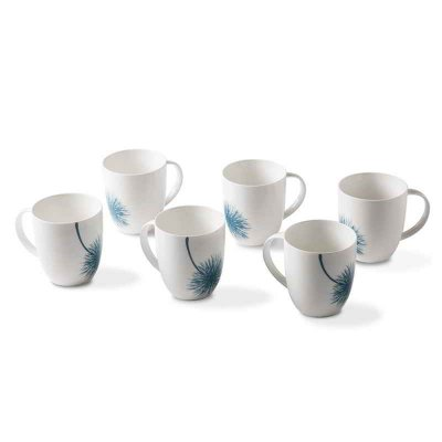 Set of 6 Porcelain Mug Cups - Botanic Blue Collection - Rivaldi
