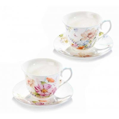 White Teacups with Flowers - Vintage / Shabby Chic Style - 2-Piece Set
