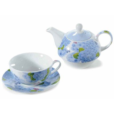 Teiera con Tazza e Piattino in Porcellana - Decori floreali