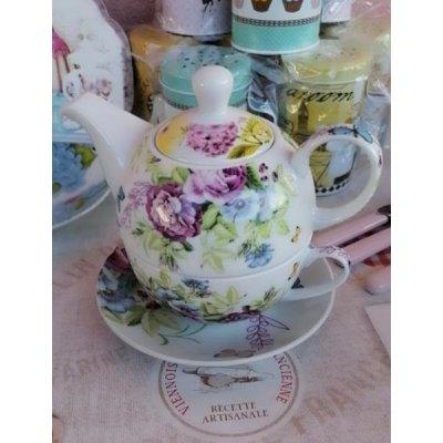 Teiera con Tazza e Piattino in Porcellana - Bianco e Decori floreali