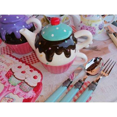 Cupcake - Set Théière et Tasses en Céramique - Shabby Pink