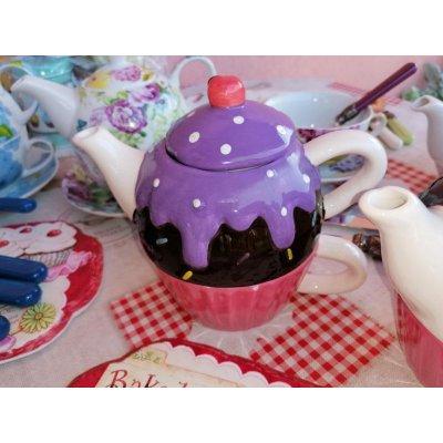 Cupcake - Keramik Teekanne und Tasse Set - Lila