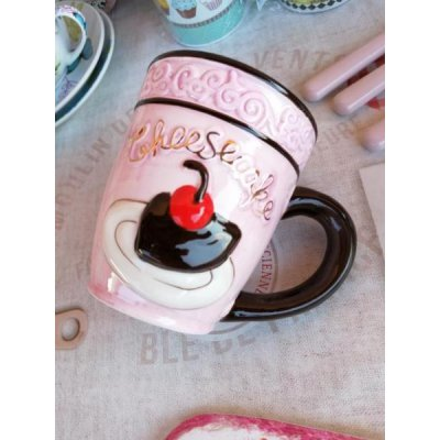 Cupcake Mug - Ceramic - Embossed decoration and Rose and Black gold details