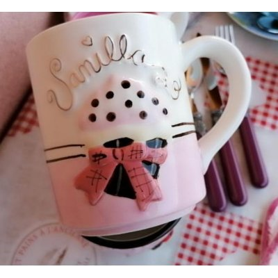 Tazza Mug Cupcake - Ceramica - Decoro in rilievo e dettagli oro Rosa e Bianco