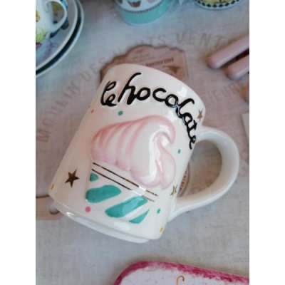 Cupcake Mug - Ceramic - Embossed decoration and White gold details