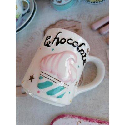 Tazza Mug Cupcake - Ceramica - Decoro in rilievo e dettagli oro Bianco