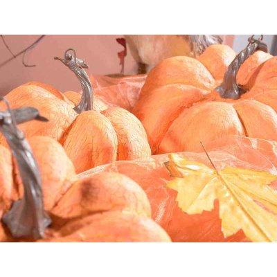 Decorative Pumpkin Set 3 Pieces Orange Color