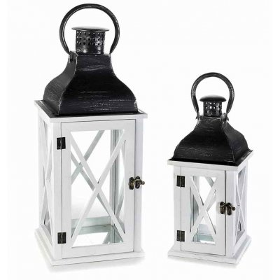 White Wood Lanterns and Black Metal Cover - Set 2 Pieces
