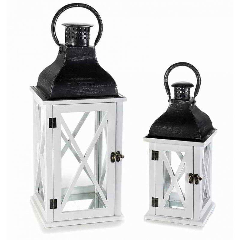 Lanterne in Legno Bianca con Coperchio in Metallo Nero - Set 2 Pezzi