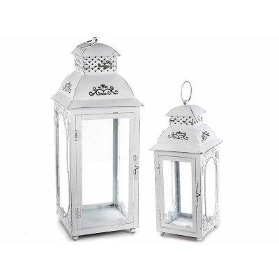 White Metal Lanterns - Set 2 Pieces