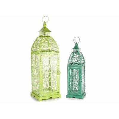 Lanterne in Metallo Colorato Verde - Set 2 Pezzi