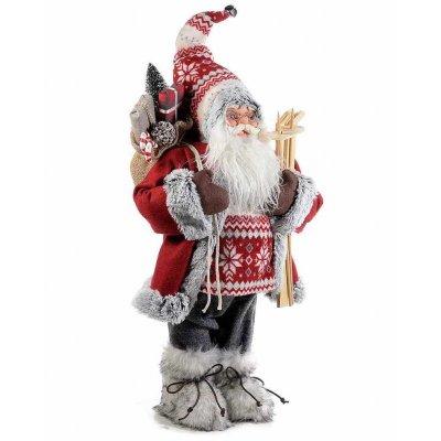 Père Noël déco avec robe rouge 32x23x81 cm