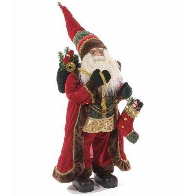 Père Noël avec manteau en velours et décorations dorées 34x30x110 cm