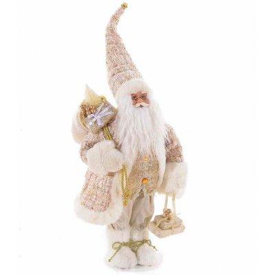 Babbo Natale Shabby Bianco e Oro cm 24x17x66
