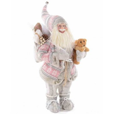 Babbo Natale Con Cappotto in Maglia Rosa - Shabby - cm 36x27x84