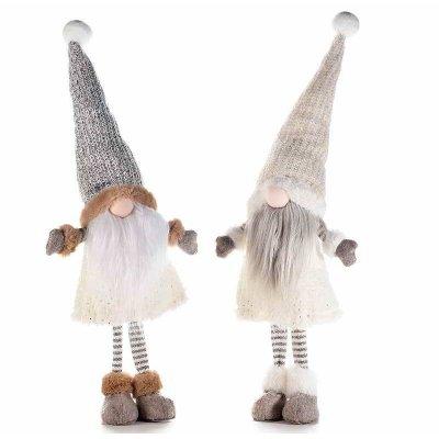 Lot de 2 gnomes de Noël avec robe blanche et grise