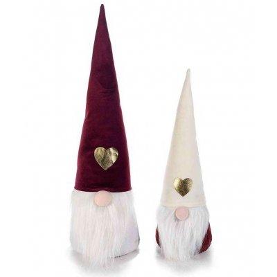Babbo Natale Set 2 Pezzi con Cappello in Velluto e Decori Dorati