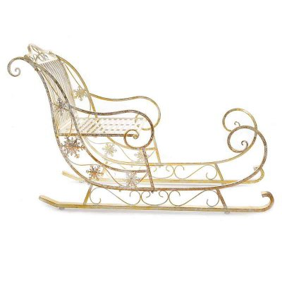 Decorative Santa's Sleigh in Golden Metal