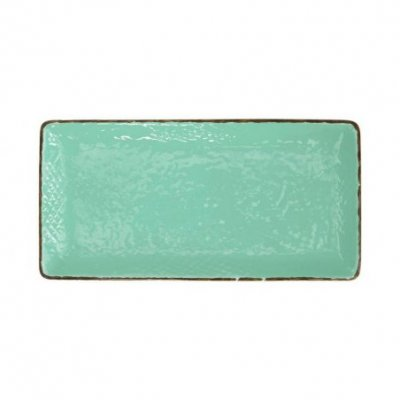 Sushi Plate 30x15 in Ceramic - Set 4 Pcs - Tiffany Green Water Color - Preta