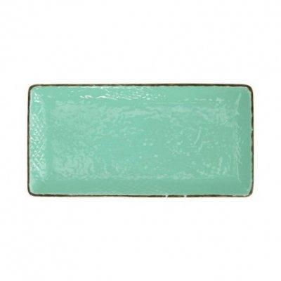 Assiette à Sushi 30x15 en Céramique - Set de 4 Pcs - Aquarelle Vert Tiffany - Preta
