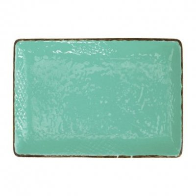 Ceramic Tray 32x26 - Set 4 Pcs - Tiffany Green Water Color - Preta