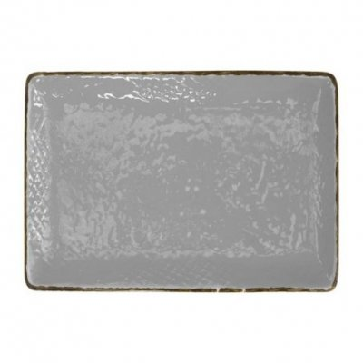 Ceramic Tray 32x26 - Set 4 pcs - Gray Color - Preta