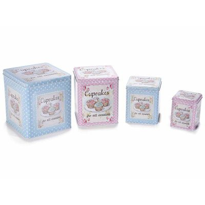 """Set 4 S metal boxes with """"Cupcakes"""" prints - Shabby Chic"""